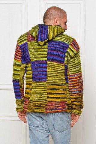 Jacheta lana dubla polar unisex cu gluga - multicolor