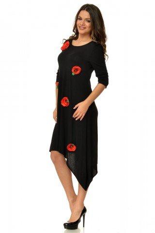 Rochie de zi neagra asimetrica  cu maci rosii aplicati CBM1011