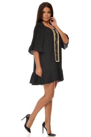 Rochie neagra oversize cu imprimeu etno aplicat CBM1022