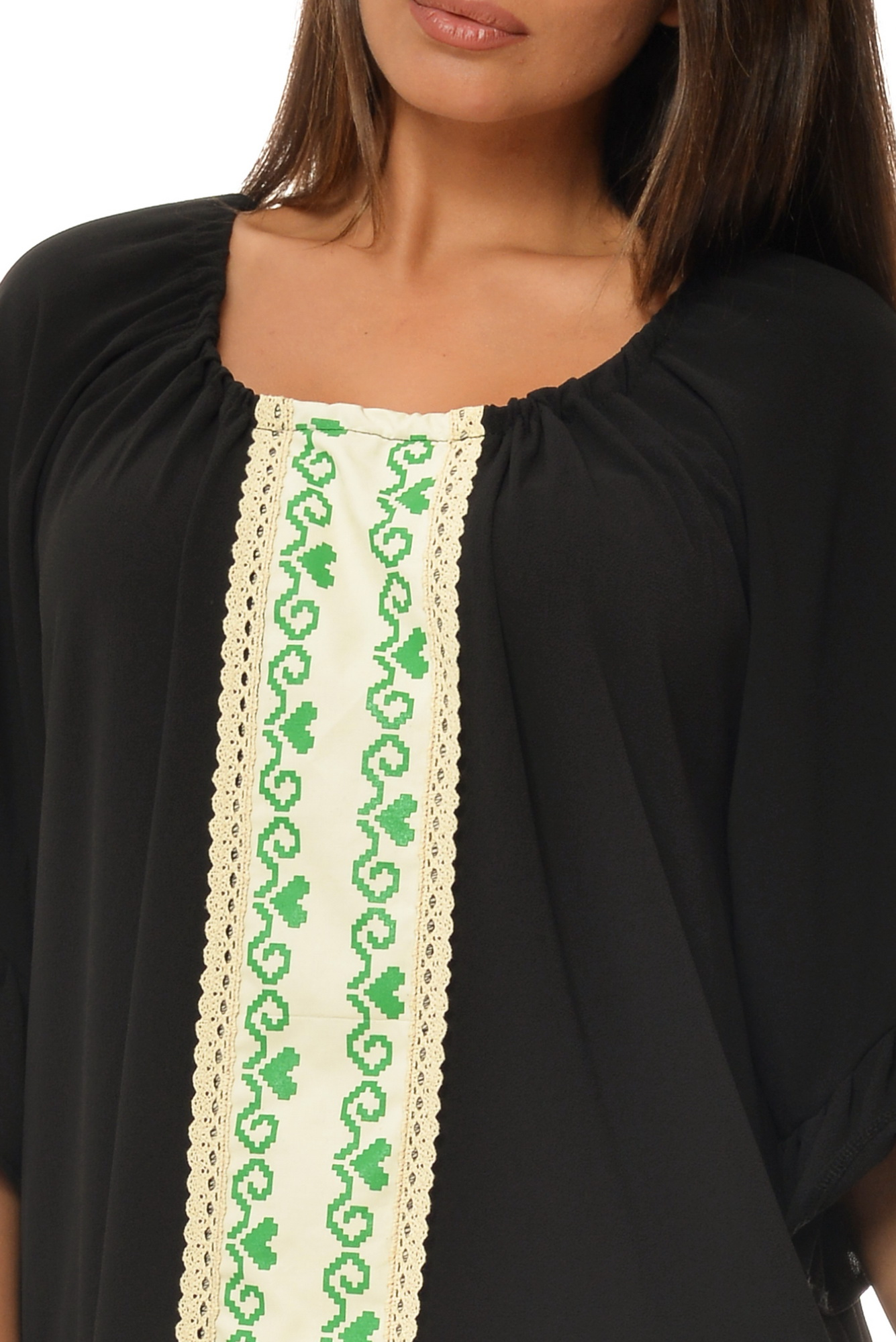 Rochie neagra oversize cu imprimeu etno aplicat CBM1021