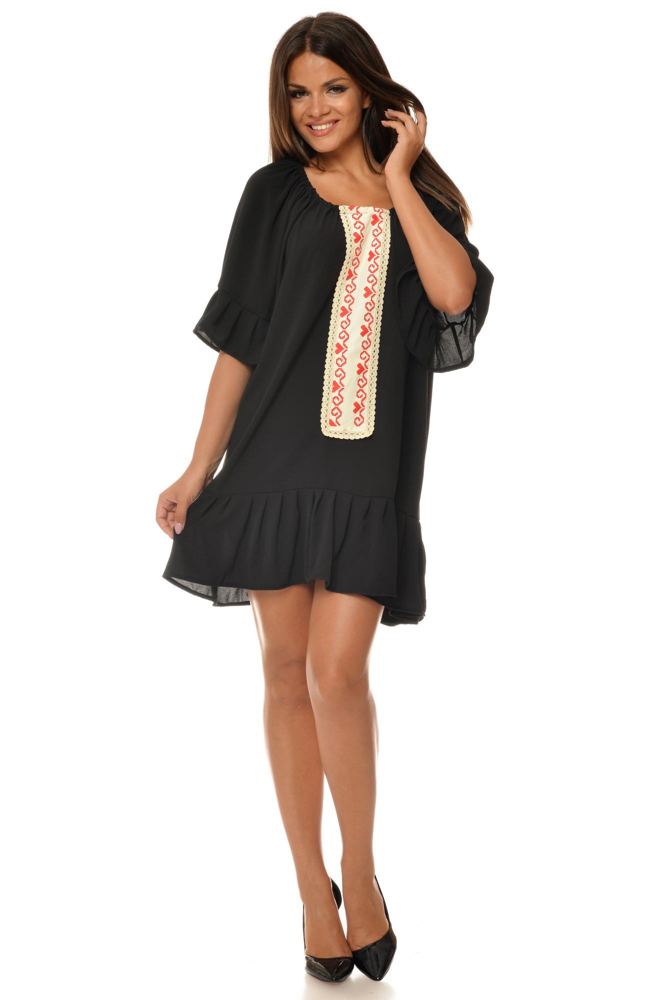 Rochie neagra oversize cu imprimeu etno aplicat CBM1020