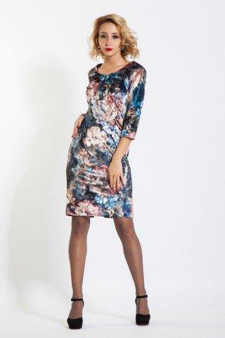 Rochie conica din catifea cu imprimeu floral multicolor