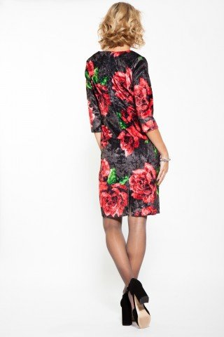 Rochie conica din catifea cu flori rosii imprimate