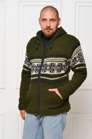 Jacheta de lana dubla polar cu gluga - verde inchis cu motiv fulg de nea