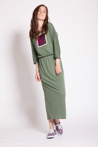 Rochie olive HHS elastic si aplicatie