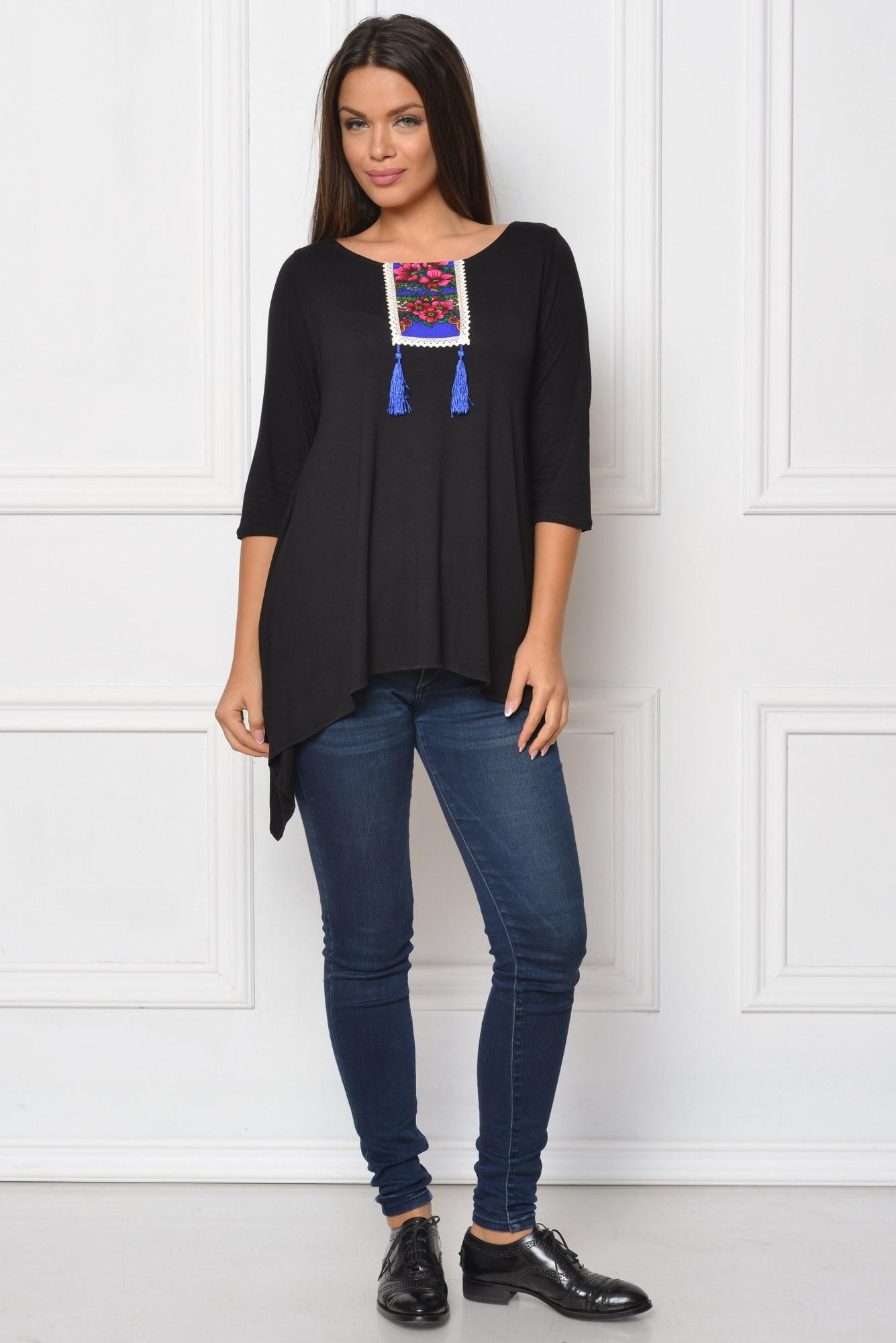Bluza neagra casual HHS aplicatie maramureseana