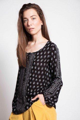Bluza neagra vascoza Evone maneca lunga