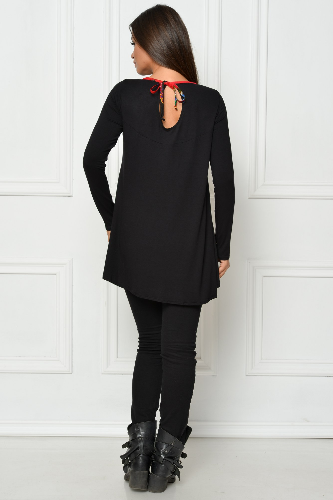Bluza neagra casual HHS trena si aplicatie maramureseana