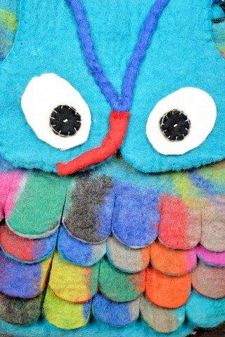 Geanta bleu bufnita colorata din fetru