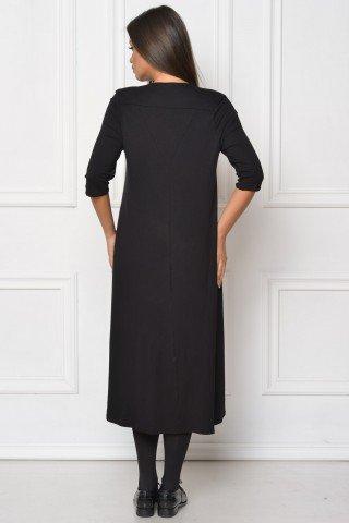 Rochie neagra asimetrica Cristia cu platca
