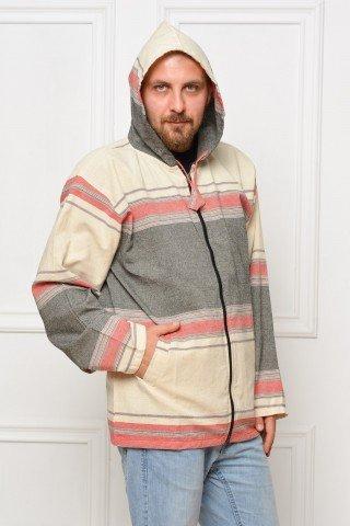 Jacheta de bumbac cu gluga alb - gri