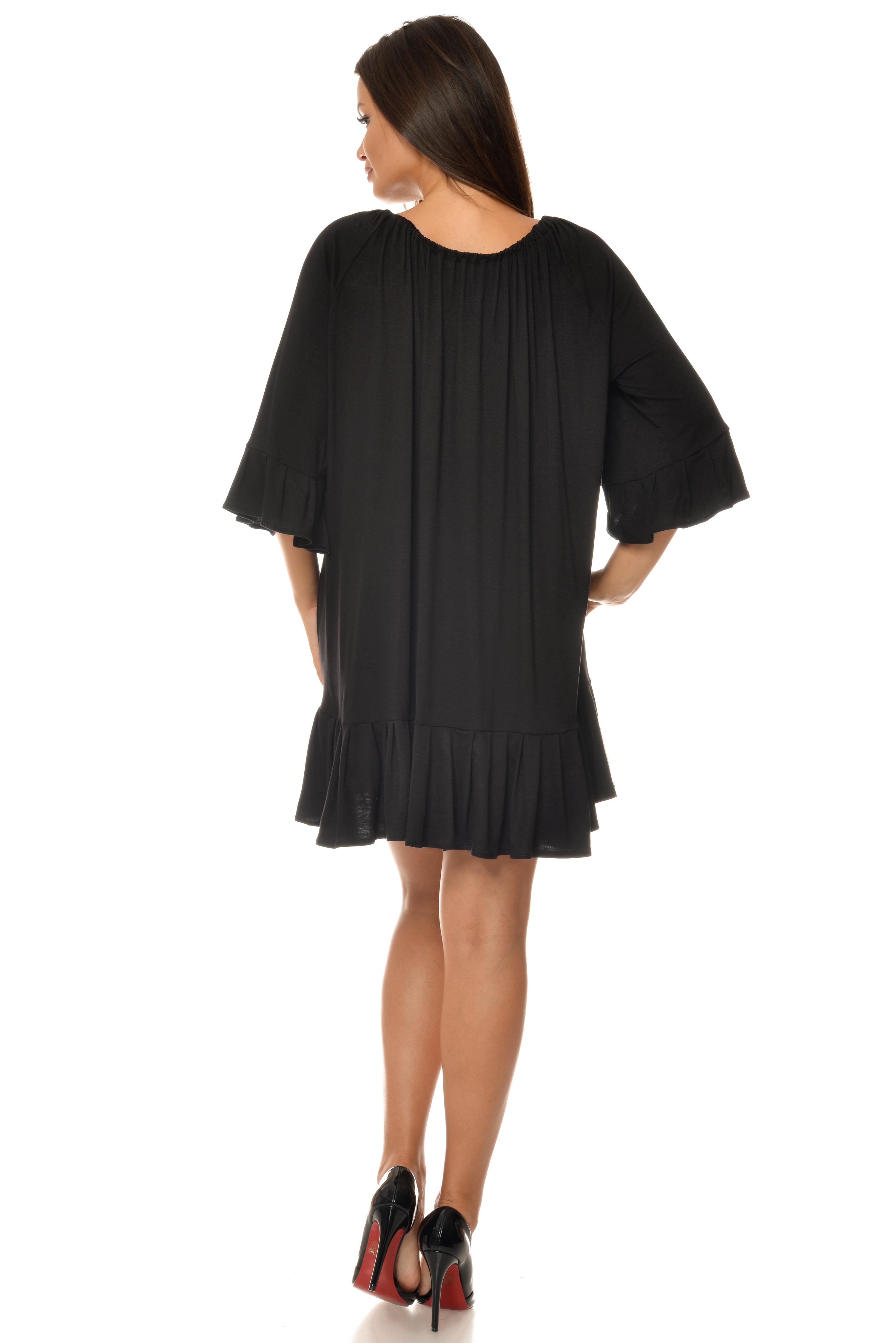 Rochie neagra oversize cu imprimeu etno aplicat CBM1019