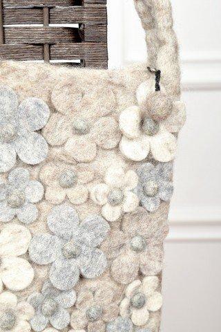 Geanta gri din lana cu aplicatii florale