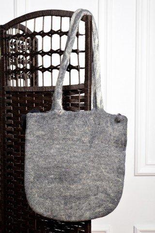 Geanta gri din lana