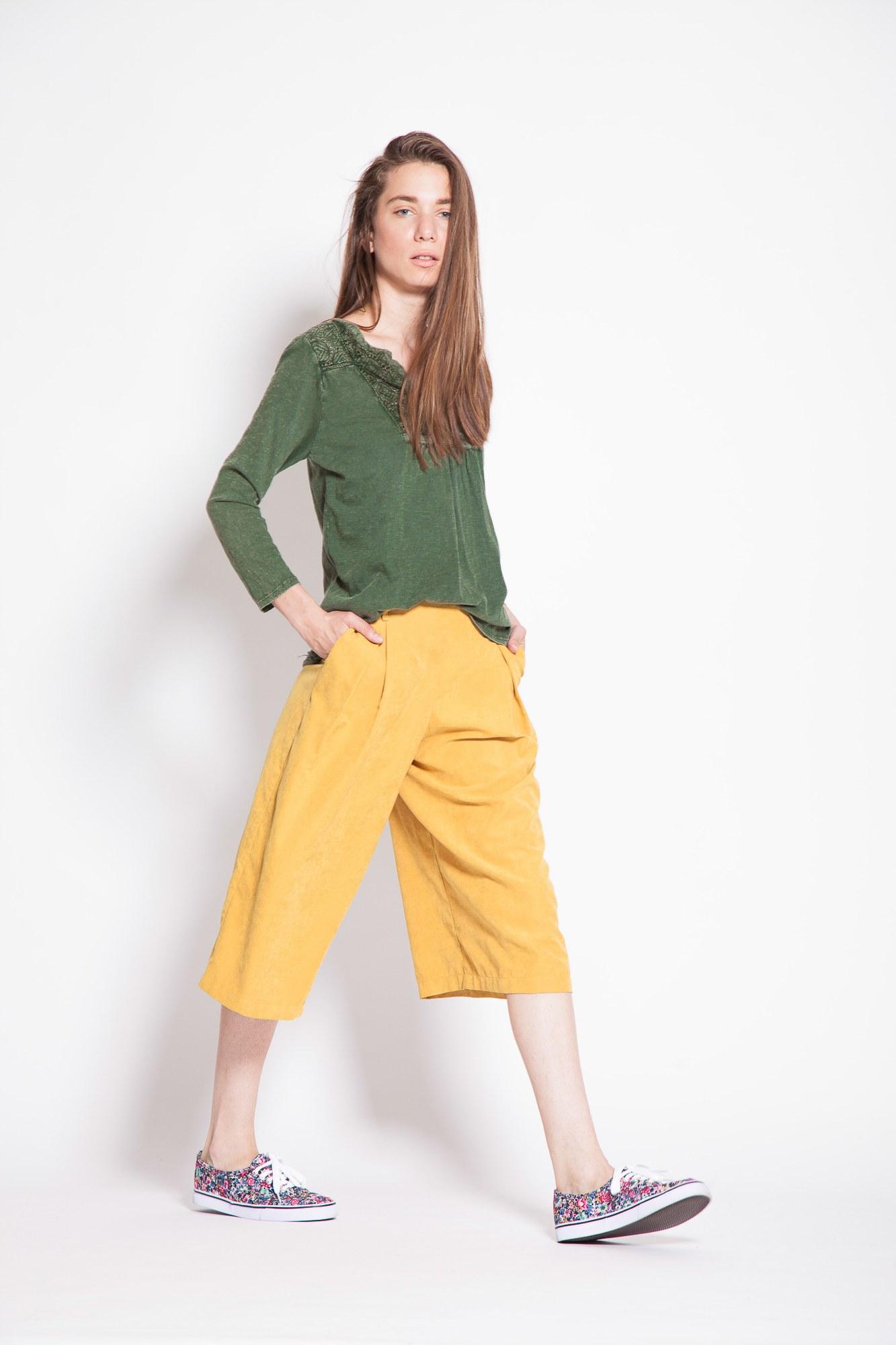 Pantaloni galbeni tip Culottes Flemming