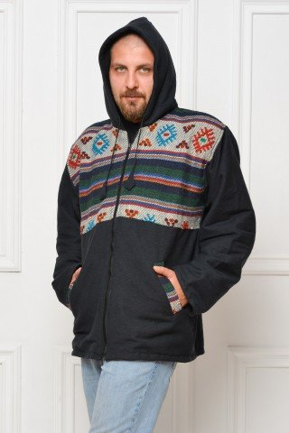 Jacheta neagra dubla polar cu insertie etnica