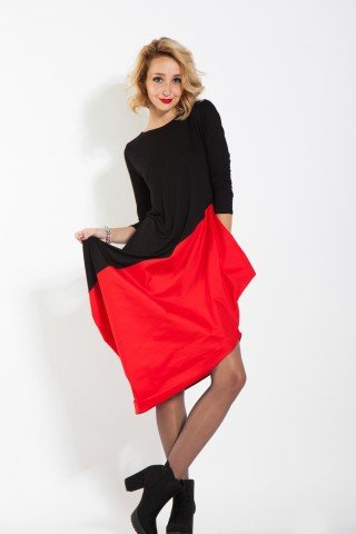Rochie negru-rosu balon HHS