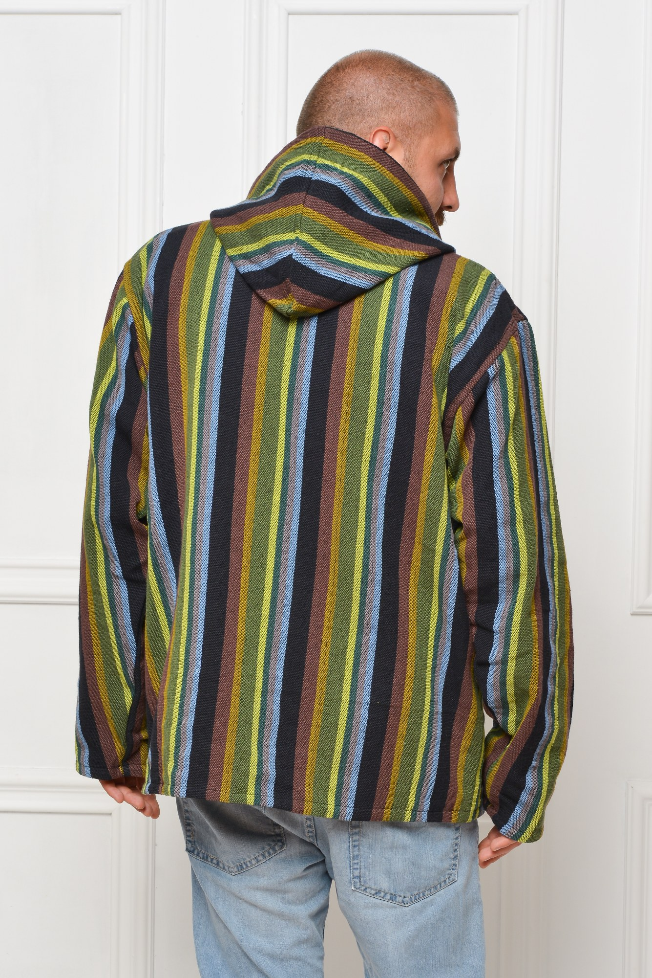 Jacheta dubla polar - dungi verticale verzi