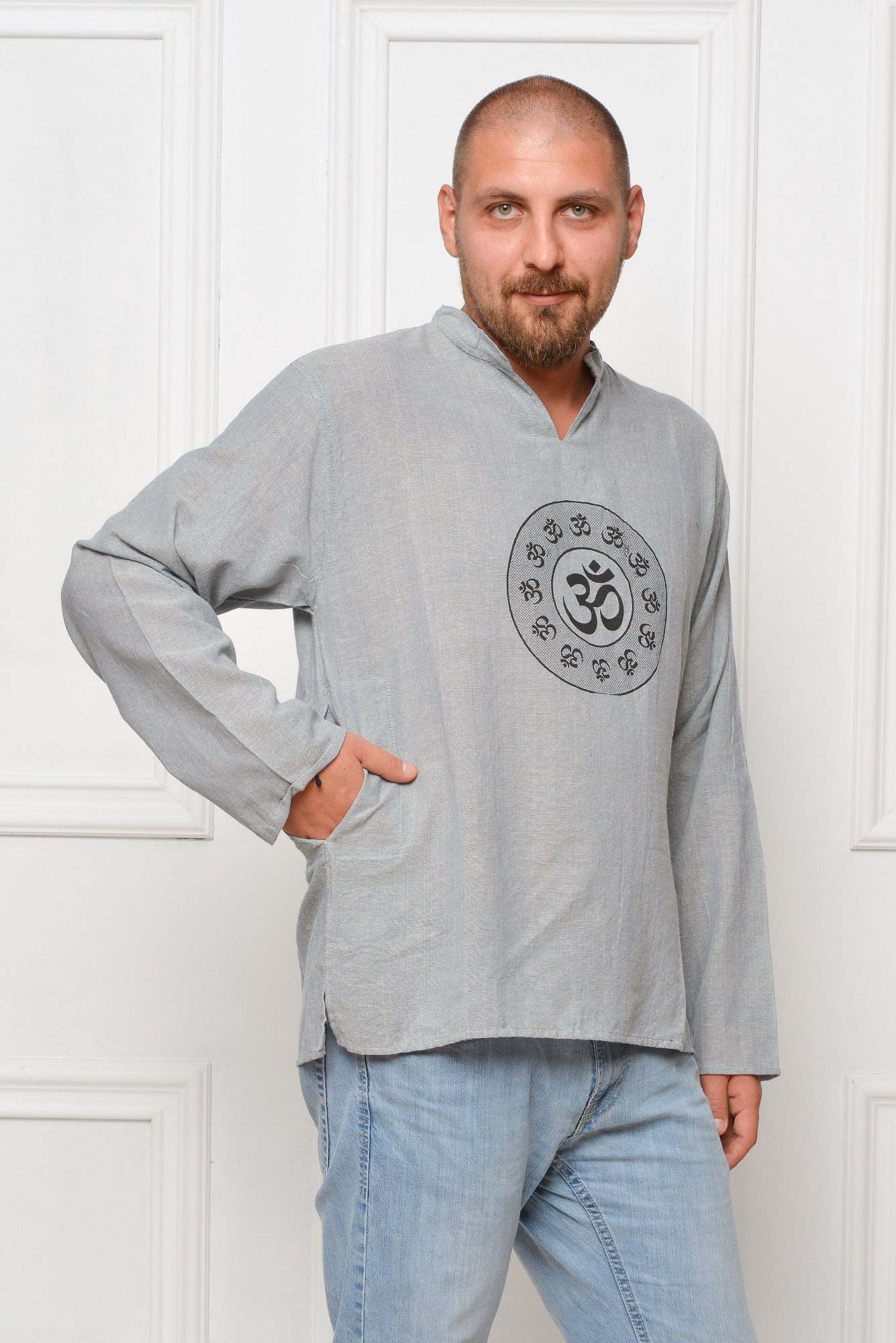 Camasa de bumbac cu maneca lunga - simbol OHM (gri)