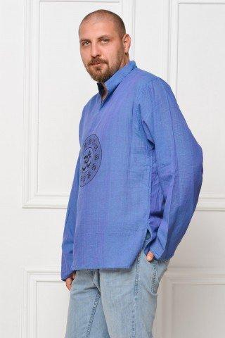Camasa de bumbac cu maneca lunga - simbol OHM (albastru)