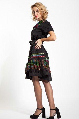 Rochie neagra poplin cu platca din material de inspiratie maramureseana