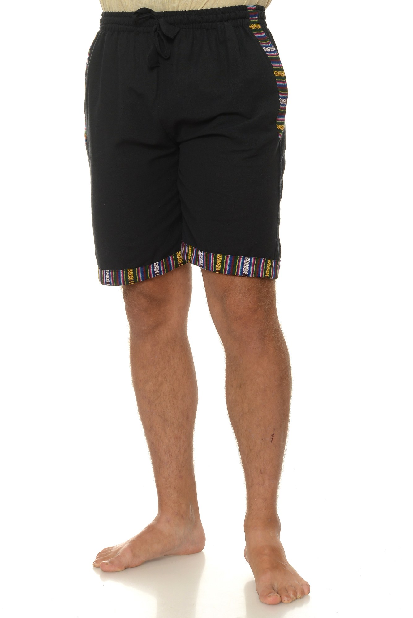Pantaloni scurti de bumbac cu insertie etnica - negru