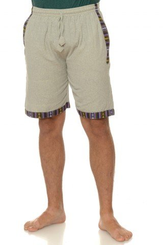 Pantaloni scurti de bumbac cu insertie etnica - gri