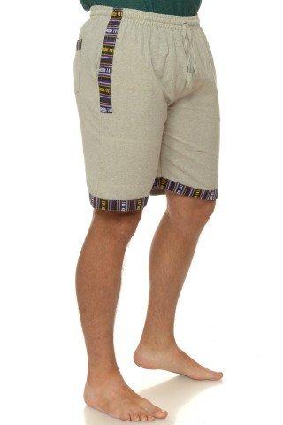 Pantaloni scurti de bumbac cu insertie etnica - beige