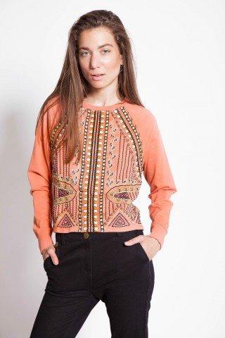 Bluza portocalie cu broderie si aplicatii