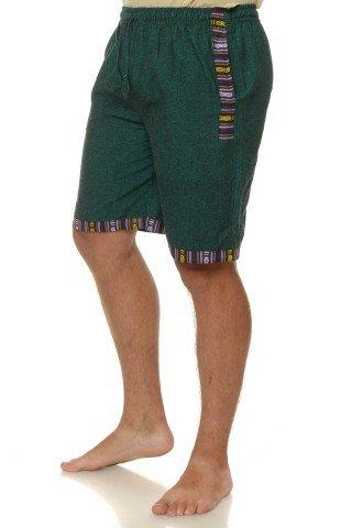 Pantaloni scurti de bumbac cu insertie etnica - verde
