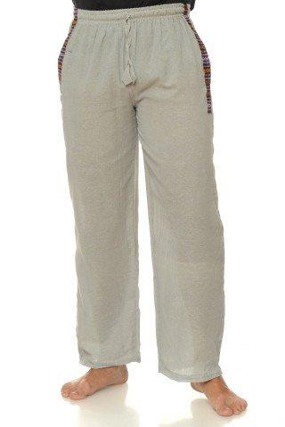 Pantaloi lungi de bumbac cu insertie etnica - gri
