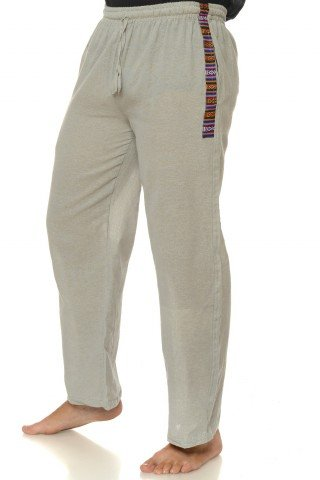 Pantaloni lungi de bumbac cu insertie etnica - gri