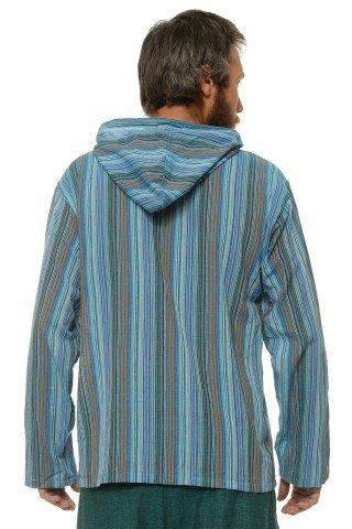 Camasa de bumbac cu trei nasturi si maneca lunga - gluga (dungi albastre)