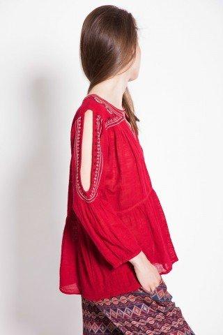 Bluza casual rosie cu decupaje umeri si piept