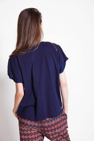 Bluza bleumarin brodata cu maneca scurta