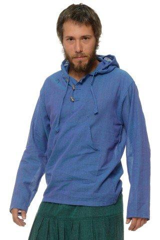 Camasa de bumbac cu trei nasturi si maneca lunga - gluga (albastru)