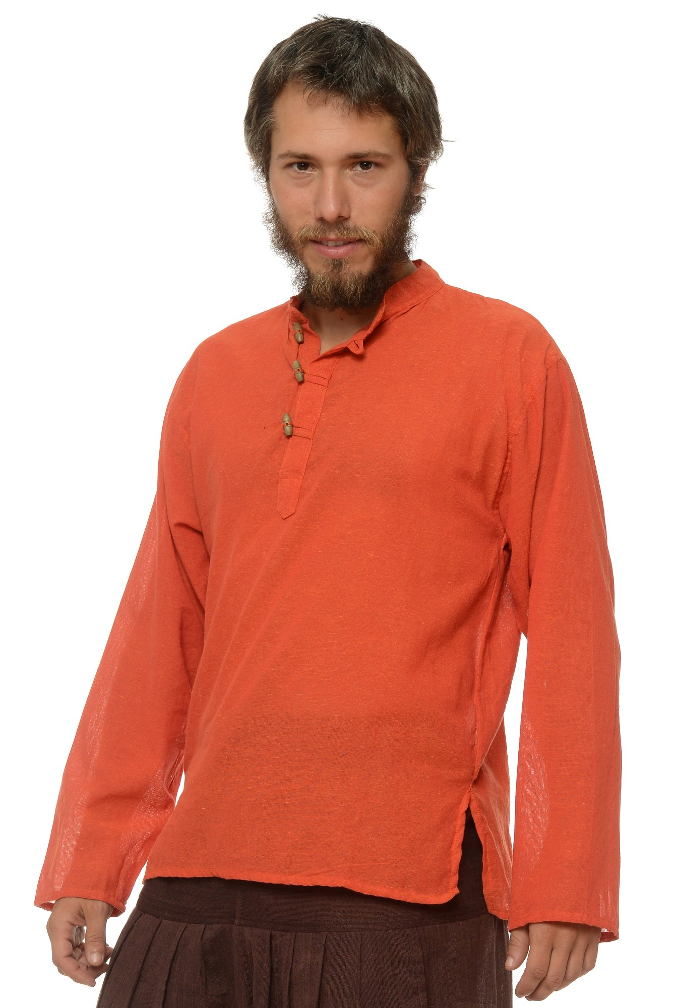 Camasa de bumbac cu trei nasturi si maneca lunga - portocaliu