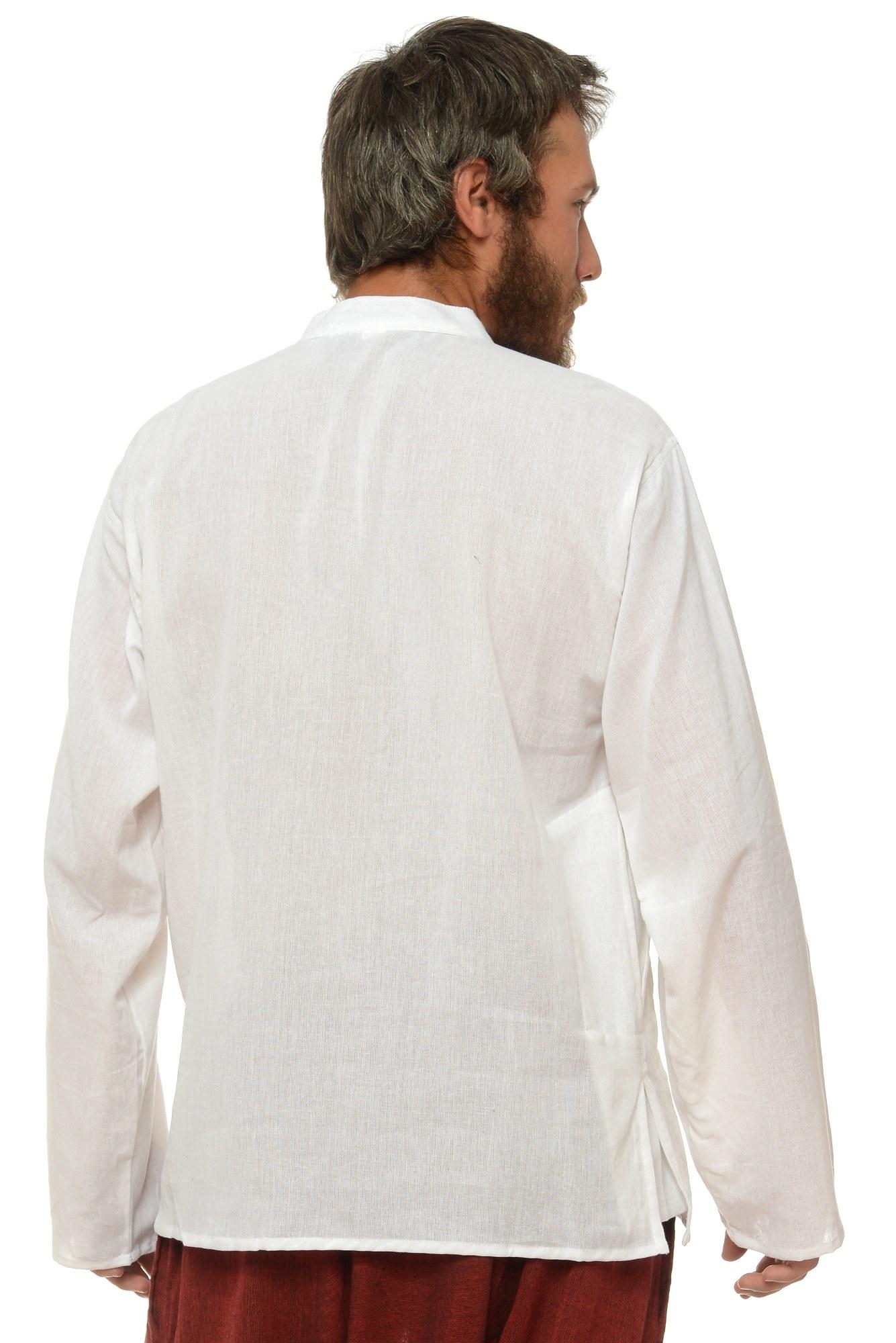 Camasa de bumbac cu trei nasturi si maneca lunga - alb