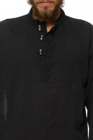 Camasa de bumbac cu trei nasturi si maneca lunga - negru