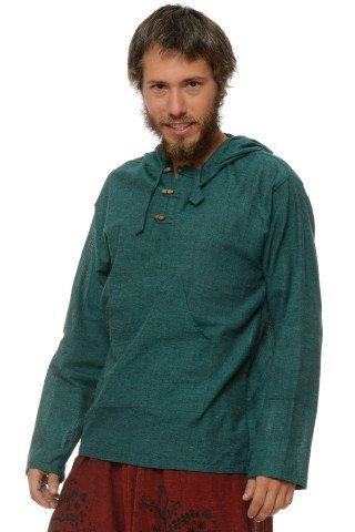 Camasa de bumbac cu trei nasturi si maneca lunga - gluga (verde)