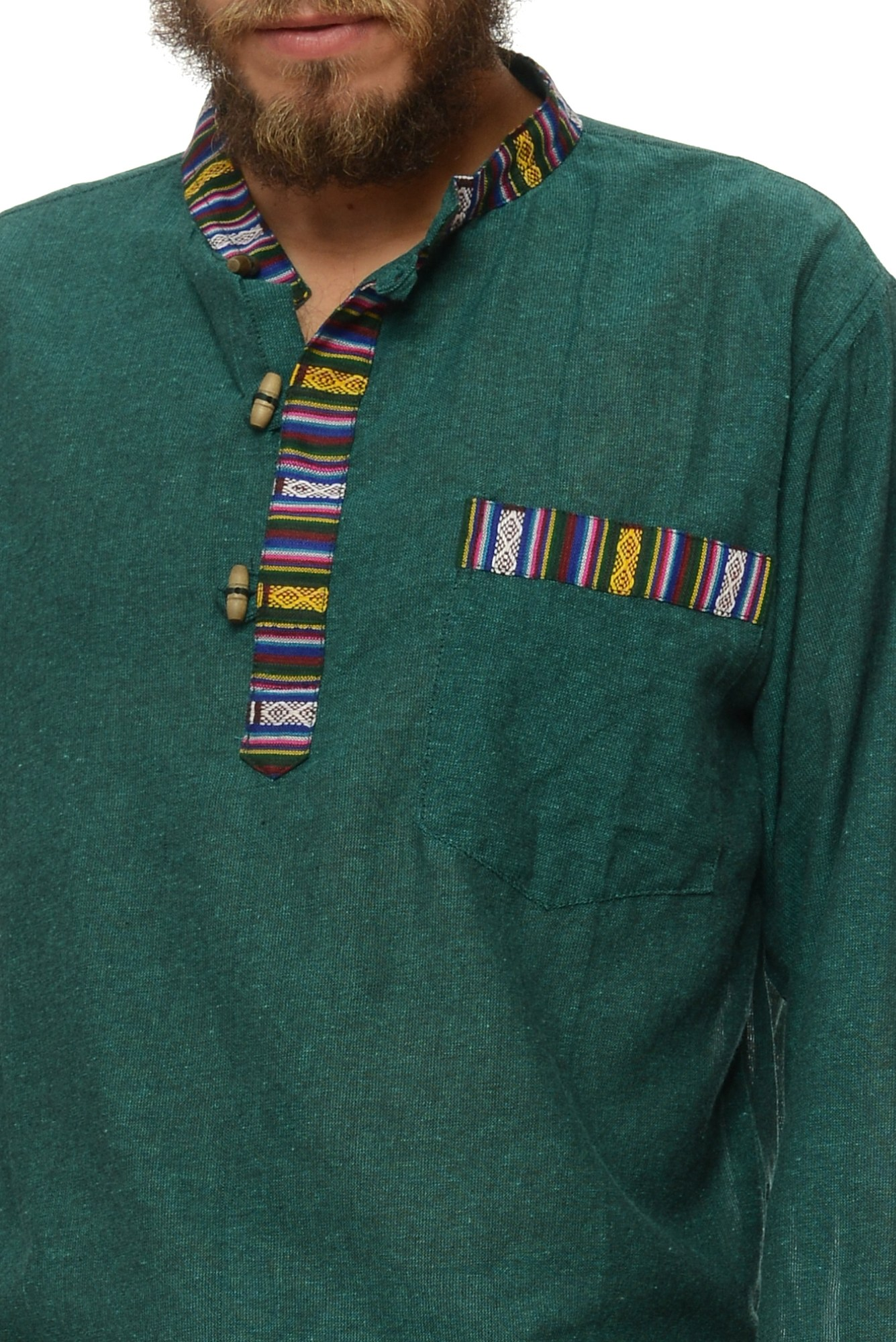 Camasa de bumbac cu trei nasturi si maneca lunga - insertie etnica (verde)