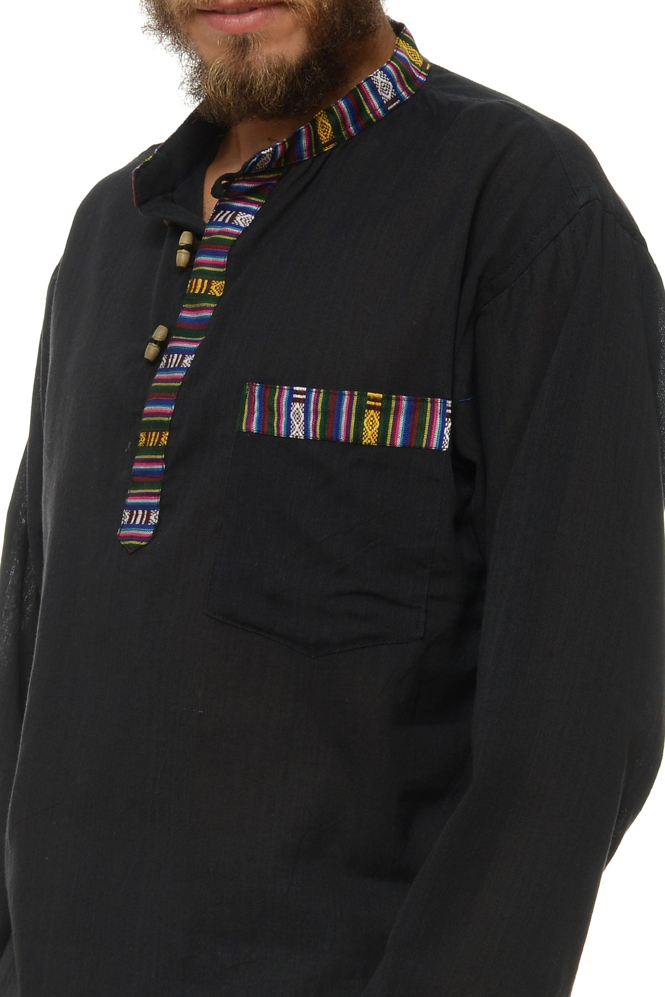 Camasa de bumbac cu trei nasturi si maneca lunga - insertie etnica (negru)