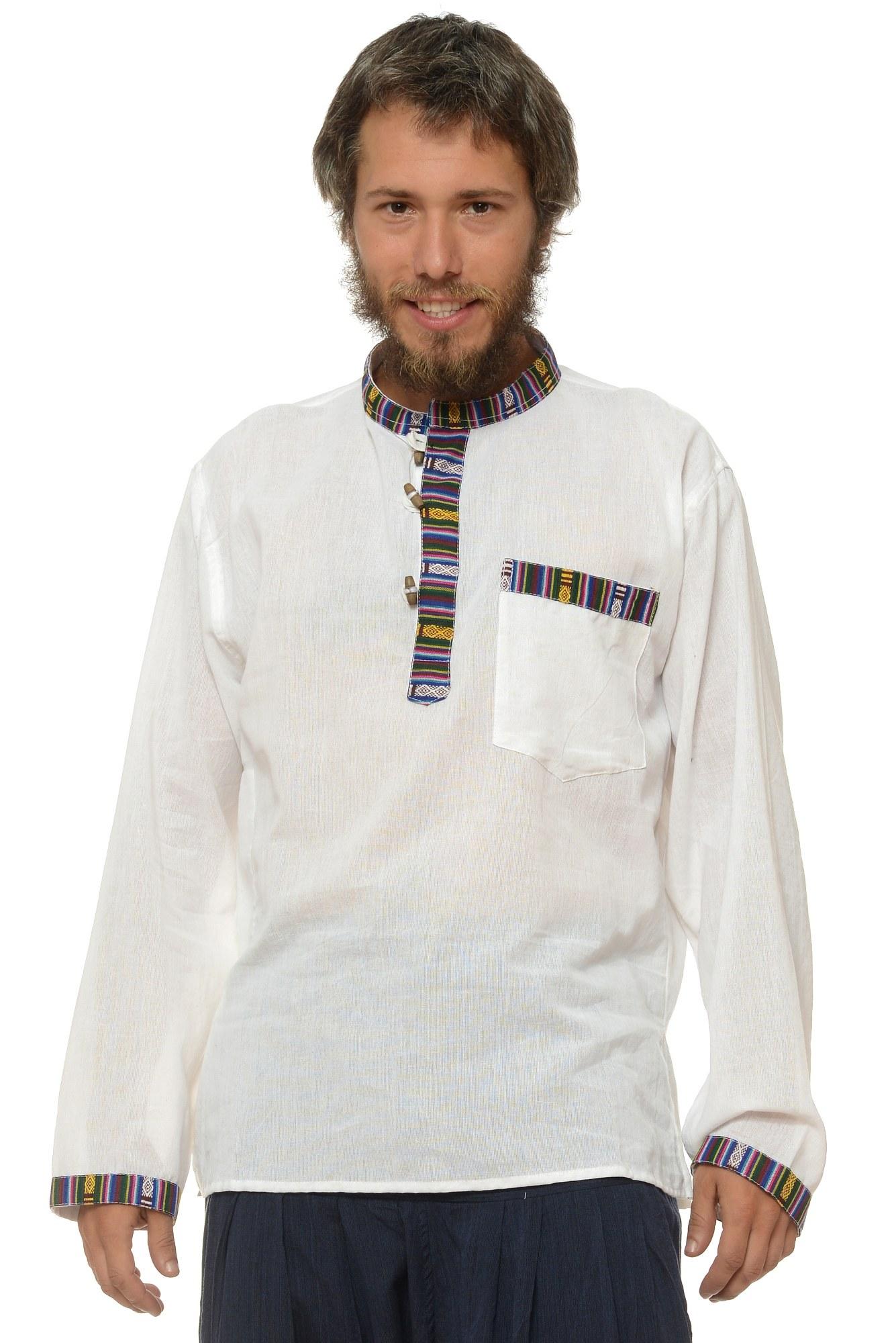 Camasa de bumbac cu trei nasturi si maneca lunga - insertie etnica (alb)