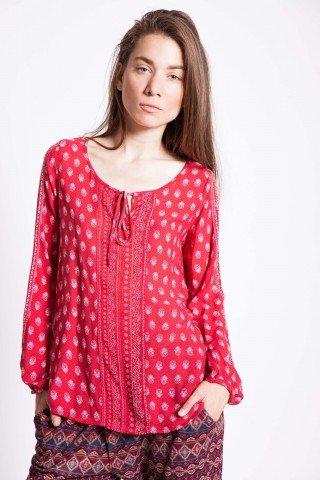 Bluza rosie vascoza Evone maneca lunga