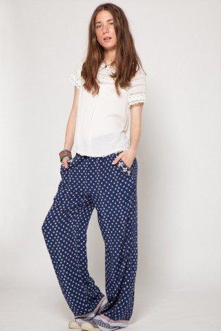 Pantaloni bleumarin vascoza Brody imprimati
