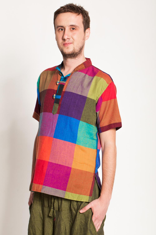 Camasa de bumbac cu trei nasturi si maneca scurta - patratele colorate