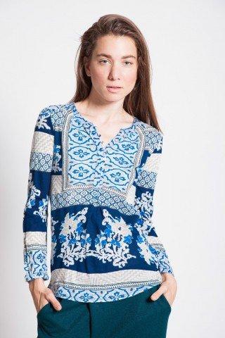 Bluza casual imprimeu floral bleumarin
