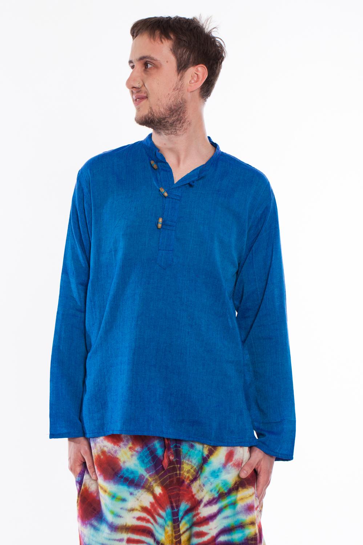 Camasa de bumbac cu trei nasturi si maneca lunga - albastru