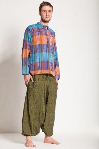 Camasa de bumbac cu trei nasturi si maneca lunga - dungi colorate