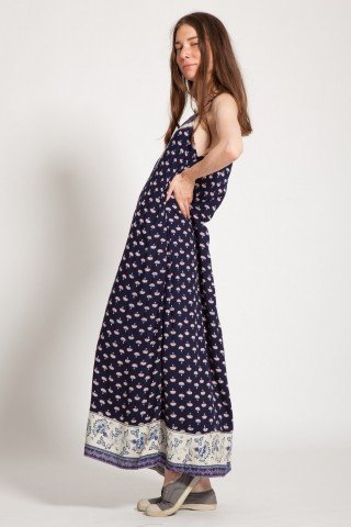 Rochie bleumarin lunga Renga imprimata